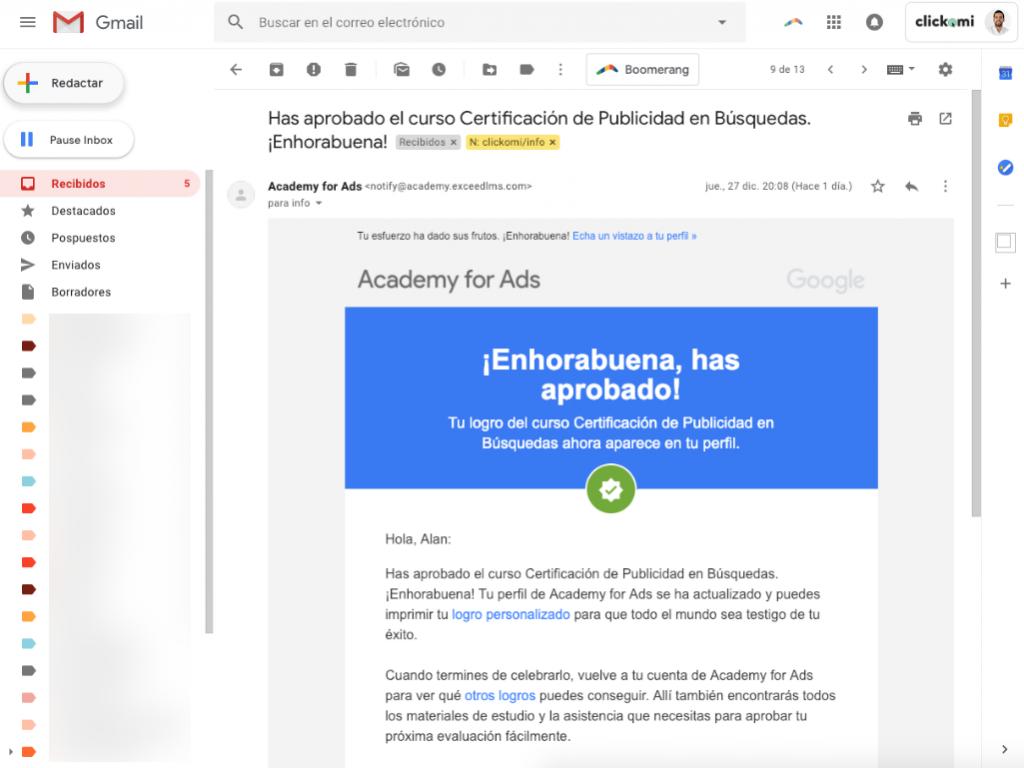 aprobación del curso de certificación de publicidad en búsqueda de google ads