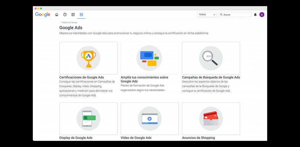 opción de certificaciones de google ads