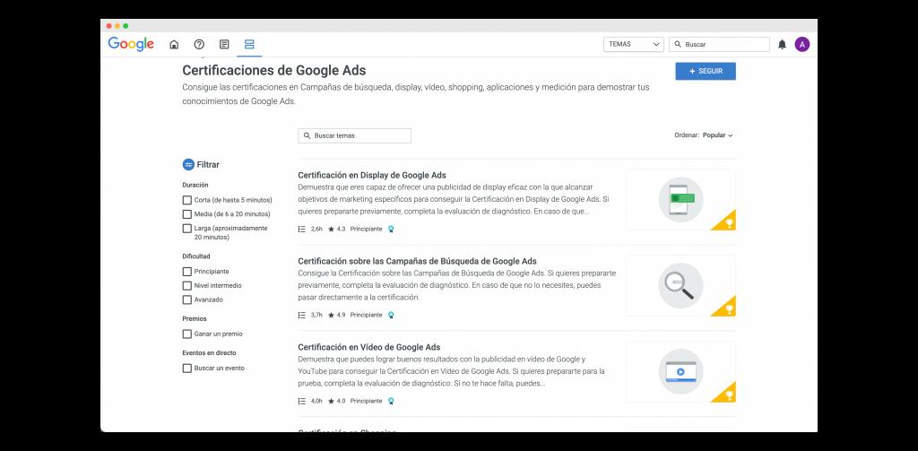 listado de certificaciones de google ads