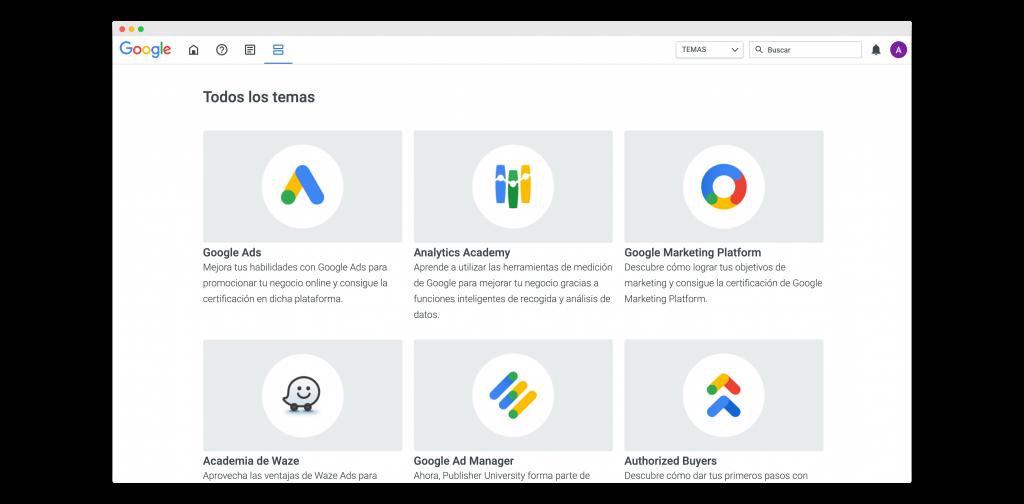 temas dentro de google skillshop